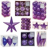 Purple Collection Christmas Decorations Baubles Stars Cones Hearts Tree Topper