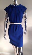 Rinascimento Bright Blue Straight Shift Draped Cowl Short Sleeve Dress Sz S