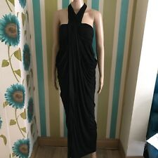 All Saints Cachao Black Modal Silk Maxi Grecian Lagenlook Dress Size  6 Draped