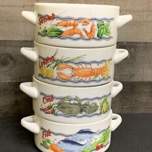 Gumbo Chowder Soup Bowl Mug Stackable Set of 4 Shrimp-Lobster-Fish-Crab 17 oz.