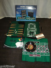 VINTAGE CASINO GAME SET BACKGAMMON CRAPS ROULETTE BLACKJACK  IN  ATTACHE CASE