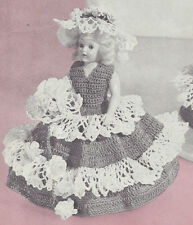Vintage Crochet PATTERN to make 8 inch Doll Clothes Ruffled Dress Hat