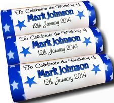 12 x Personalised Wrappers Chocolate Bars Birthday Favours Stars
