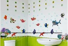 Finding Nemo Wall Sticker Occean World Shark Fish Transparent Bathroom Nursery