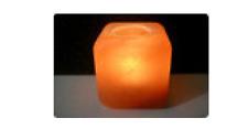 Kristallsalz Teelicht in Würfelform, angenehm harmonisches Flair