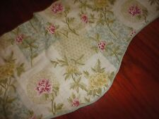 WAVERLY TUSCAN PATCHWORK CREAM BLUE GREEN FLORAL SCALLOPED VALANCE 20 X 78
