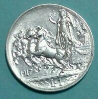 1 LIRA 1917 ITALY SILVER Coin., (VITTORIO EMANUELE III)( UNC). SUPER EXTRA FINE