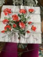 Nelo Handkerchief Swiss Made Cotton Vintage Hankerchief Roses Karstadt New