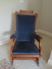 Antique Eastlake Carved Walnut Victorian Platform Rocker Blue Velvet