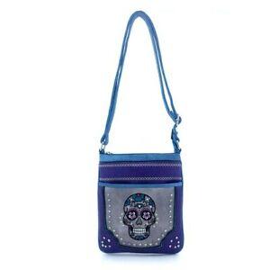 Skull Messenger Bag by Yesir Purple Multi Rhinestones NEW FACTORY SEALED