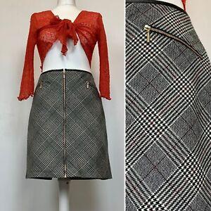 Sz 14 - Tu - Skirt Black/White/Red Short Zip Up A Line PVU Trim Faux Pockets VGC