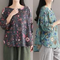 UK 8-24 ZANZEA Women Summer 3/4 Sleeve Floral T Shirt Casual Cotton Tops Blouse