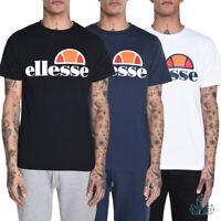 New Mens T-Shirt Ellesse Prado Regular Tee Cotton White Navy Black Basic Printed