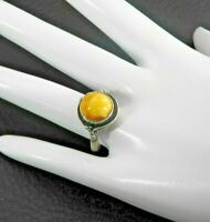 Vintage Butterscotch Amber Ring Southwestern Solid 925 Sterling Silver Stone 9.2