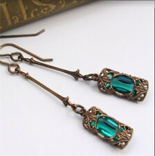 Women Antique Gold Natural Gemstone Inlay Light Green Sapphire Earrings Jewelry