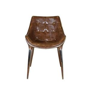 Aviator Aviation Dining Chair Aluminium Real Leather Brown Dining Room