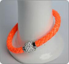 Mens Womens Leather Bracelet Bangle Silver Magnetic Rhinestone Free Gift Bag 94