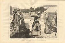 1873 ANTIQUE PRINT-Grand National Archery competition at shrublands, Leamington
