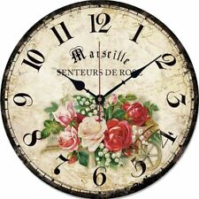 Wooden Wall Clock Round French Country Antique Style Watch Home Wall Decoration