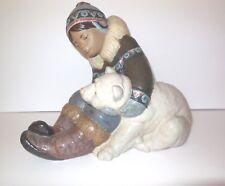 Lladro Spain Large Eskimo Playing Figurine Gres Finish Boy w Polar Bear L 2097