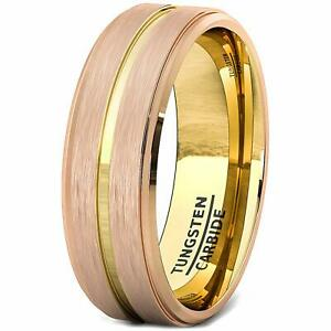 Tungsten Ring Wedding Band 18k Plated Gold Groove Rose Gold Brushed Step Edge