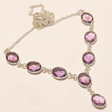 11.30 Gm 925 Solid Sterling Silver Necklace Natural Amethyst Cut Necklaces i-173