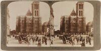 Francia Saint-Denis Basilique Place Animato 1907 Foto Stereo Vintage