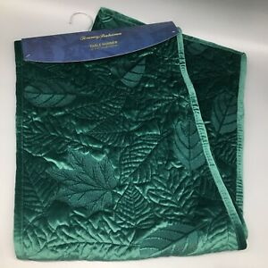 """Tommy Bahama Leaf Velvet Table Runner Quilted Deep Emerald Green Fall Decor 72"""""""