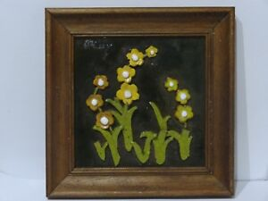 Folk Art Framed terracotta Tile with 3d Clay Flower Design
