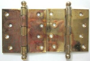 """Pair McKinney 4"""" Square Brass Plated Mortise Barn Farm Door Ball Hinges Antique"""