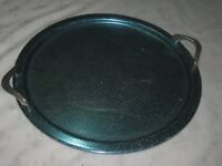 A Vintage 1960's Retro Blue Dimpled Anodised Aluminium Handled Drinks Tray