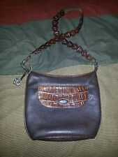 Brighton Brown Pebbled Leather With Brown Croc Satchel Shoulder Bag Purse 883814