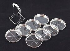 Vintage Set of 8 Sterling Silver Rimmed Glass Drink Coasters w/ Carrier