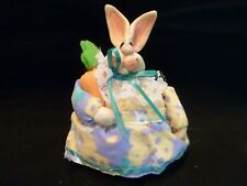 """RUSS Berrie  Bunny Rabbit  With Carrot - 4 1/2 x 3 1/2"""" - Bunny might be ceramic"""