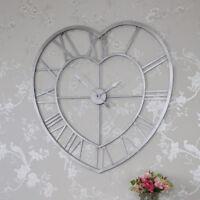 Large grey metal heart shape skeleton wall clock shabby vintage chic love gift