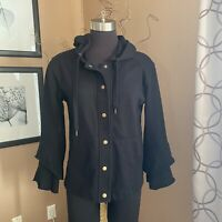 Sanctuary Ruffle Sleeve Hoodie Button Front Black Bell Sleeves Womens Size Small