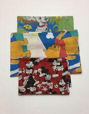 Vintage Disney Sheets Lot Of 3 Mickey Mouse Winnie Pooh 101 Dalmatian Fabric USA