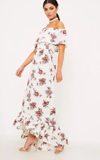 a8df778e3b PRETTYLITTLETHING Julianna White Bardot Maxi Dress Size UK 4 Dh084 GG 13