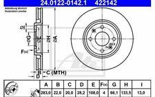 2x ATE Disques de Frein Avant Ventilé 283mm pour PEUGEOT 306 24.0122-0142.1