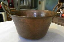 Early Hammered Copper Rolled Edge Forged Loop Handles Primitive Camp Cook Pot
