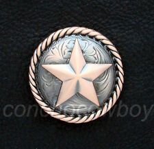 """WESTERN TACK COPPER COLOR ROUND ROPE EDGE STAR SADDLE CONCHO 1-1/2"""" screw back"""