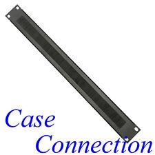 1HE Rackblende mit Bürstenleiste - Stahl - schwarz - gekantet # Rack Panel Brush