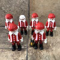 Lot Of 6 Playmobil Geobra Figurines In Santa Claus Costume Cake Toppers RARE