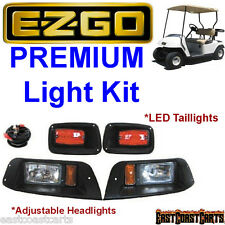 EZGO TXT Golf Cart Light Kit Black Bezel Adjustable HEADLIGHT w/ LED TAILLIGHTS