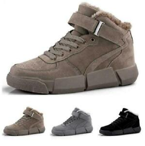 Mens Fur Inside Warm Non-slip Outdoor Running High Top Leisure Sneakers Shoes