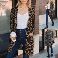 ZANZEA Women Long Sleeve Open Front Cardigan Leopard Print Jacket Coat Outwear