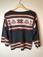 VTG Southwestern Aztec Boho Print Women's Slit Neck Sweater Size M  70's