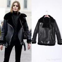 Chic Fur Leather Oversize Black Shearling Bomber New Coat Parka Women's Jacket