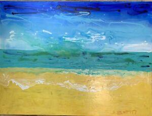 SUE BETTS ART 'Beach Serenity' Original acrylic abstract painting. Large Artwork