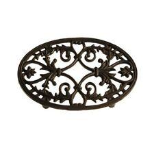 Untersetzer Topfuntersetzer Blumenuntersetzer Gusseisen schwarz- braun matt oval